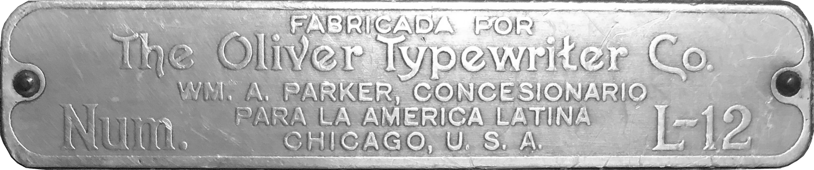 Oliver No. L-12 Plaque