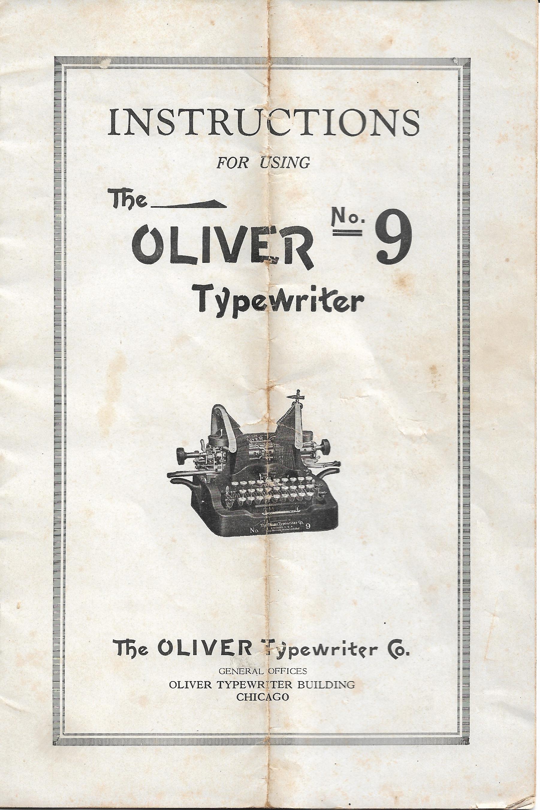 Oliver No. 9 Intstruction Manual