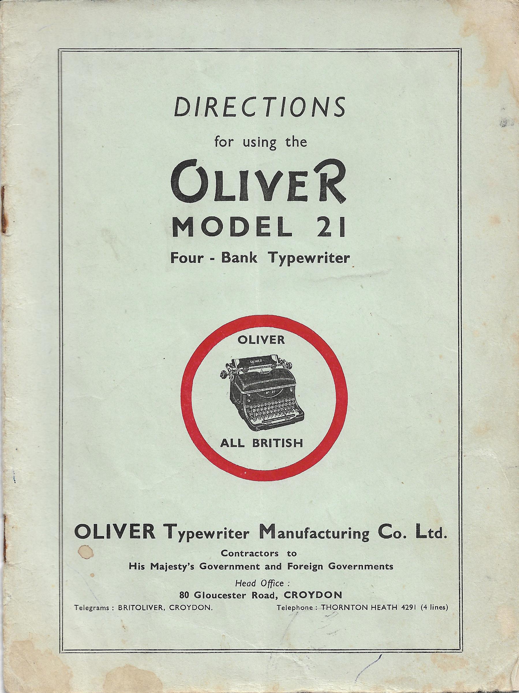Oliver Model 21 Directions
